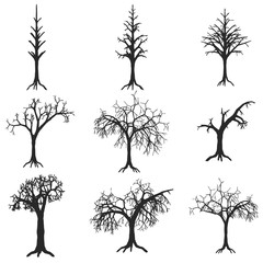 Dead trees. Set of vector silhouettes isolated on white background. Old tree vector silhouettes with roots vector set. Black silhouette tree trunk with root, illustration of dry tree.