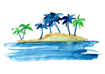 Palm trees to the sea a series of illustrations painted with watercolors