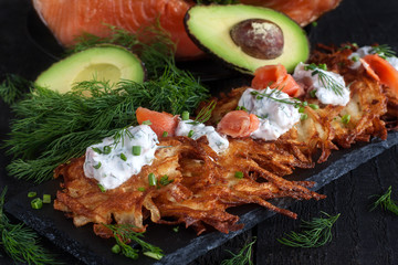 Latkes with cream cheese and salmon