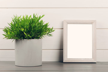 home decoration - blank picture frame and flower pot on gray wooden shelf