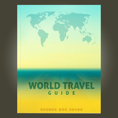 Cover template with world map on blurred background of sky, ocean and beach