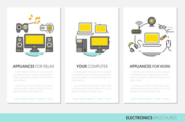 Electronics Technology Business Brochure Template with Thin Line Vector Icons