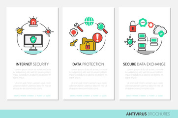 Business Brochure Template. Internet Security Data Protection Linear Thin Vector Icons