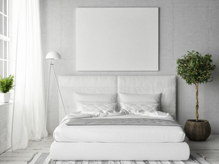 Mock up poster in white bedroom, 3d illustration