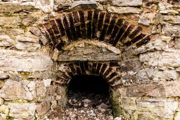 Window opening in a stone wall.
