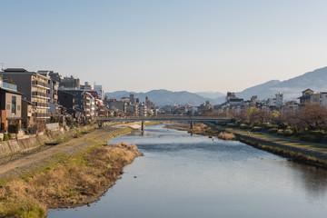 Kamo river view - Kyoto Japan - Matsubara brige