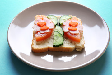 Plate with funny sandwich on color background