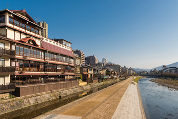 Kamo river view - Kyoto Japan - Donguri bridge