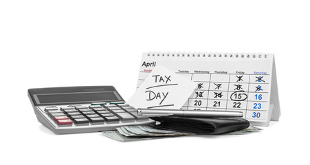 Calendar, paper sheet with text TAX DAY and wallet on white background