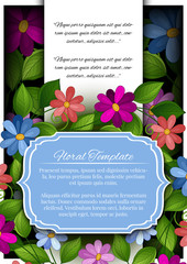 Vector Colored Floral Template with Place for Text