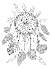 dreamcather coloring page for adult coloring book.Ethnic decorative elements.