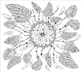 dreamcatcher with various feathers for coloring page. Hand drawn vintage illustration for adult anti-stress coloring page on white background. Ethnic decorative elements.