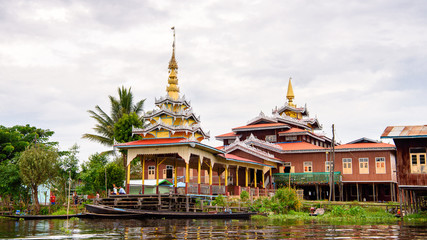 Temple in the Inpawkhon village over the Inle Sap,a freshwater lake in the Nyaungshwe Township of Taunggyi District of Shan State, Myanmar
