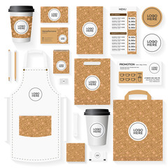 Corporate identity template set with place for logo and pattern for bakery shop, loaf store, bread house, cupcake firm, food market, cafe. Set of card, flyer, menu, package, uniform.