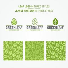 Green leaf set consisting of logo and leaves pattern three styles for organic shop, nature firm, natural product store, ecology company, green unity, garden, farming, forest. Vector Illustration