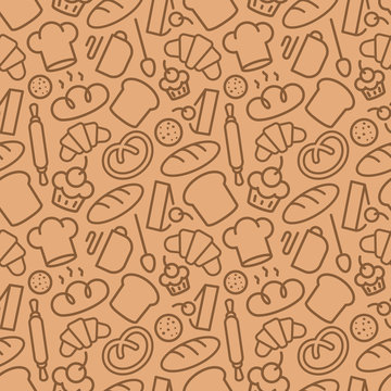Bakery seamless pattern consisting of baking accessories and food line style for use decoration identity coffee shop, loaf store, food market, cafe, bread house, cupcake firm. Vector Illustration