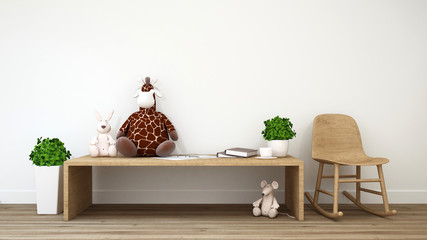 rabbit rat and giraffe doll kid room-3d rendering