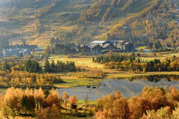 Nature of Geilo in Hardangervidda Plateau, Norway, Europe.