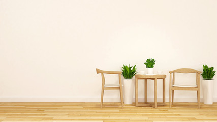 tea break with wooden chair and coffee table-3D Rendering