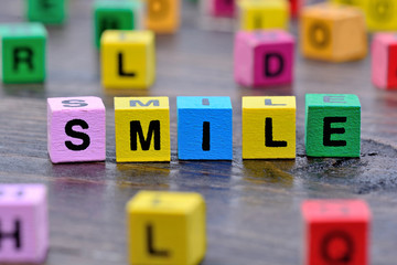 Smile word on table