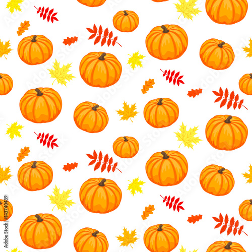 hello autumn seamless background of ripe pumpkins and autumn