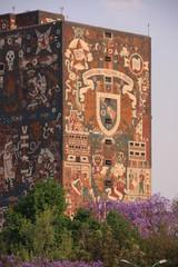 façade décorée de la bibliothèque centrale de Mexico