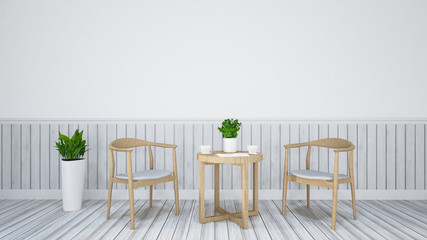 wood table and chair for dining / 3D Rendering