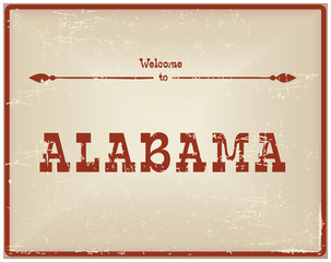 Vintage card Welcome to Alabama