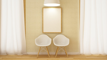 wooden white chair with frame and pendent lamp-3D Rendering