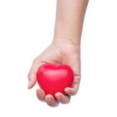 hand holding a red heart on white background