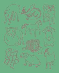 dog, dragon, goat, horse, pig, rabbit, rat, sheep,  snake, tiger