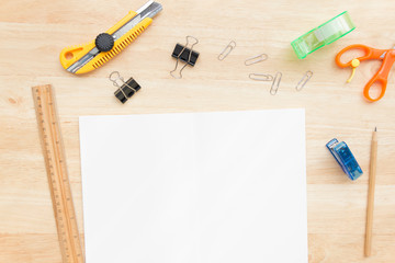 equipment for paper work with blank paper, copy space