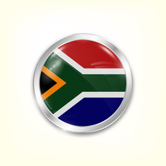 Round button national flag of South Africa with the reflection of light and shadow. Icon country. Realistic vector illustration.