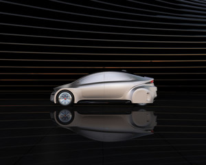 Side view of silver self-driving car on abstract background. 3D rendering image.