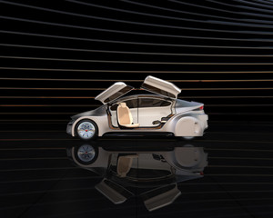 Side view of silver autonomous car on abstract background. Left doors opened and front seats turned to rear side. 3D rendering image.