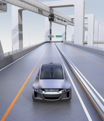 Front view of silver autonomous car driving on the highway with monorail on background. 3D rendering image.