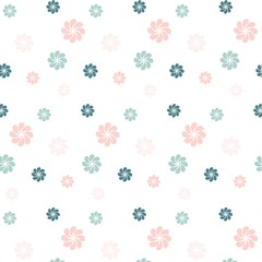 Blue and pink  flowers on white, stock vector illustration