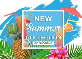 New summer collection sale banner. Exotic tropical