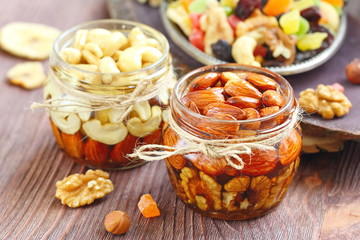 Dried fruit and nuts in honey