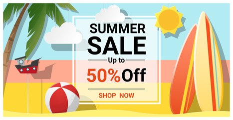 Summer sale background with colorful surfboards , vector , illustration