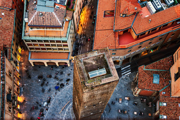 Aerial view of Bologna, Italy with one tower