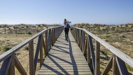 Woman accessing the beach