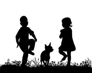 Illustration, vector, silhouette of children dancing with dog