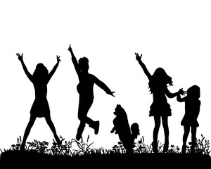 Illustration, vector, silhouette of children jumping on grass with dog