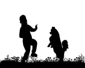 Illustration, vector, silhouette boy playing with dog