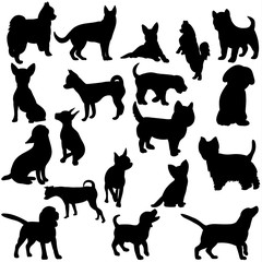 Illustration, vector, silhouette dog collection