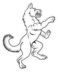 Dog or Wolf in Heraldic Rampant Coat of Arms Pose