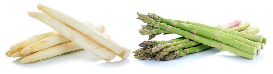 Weißer weisser und grüner Spargel weiss weiß grün Gemüse Freisteller freigestellt isoliert