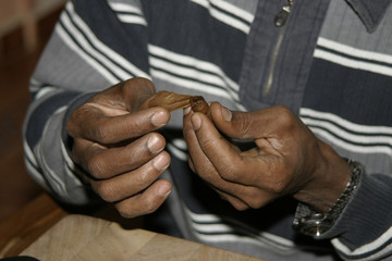 Cuban makes cigars by hand