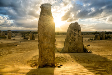 Stone pinnacles in Nambung National park, Western Australia